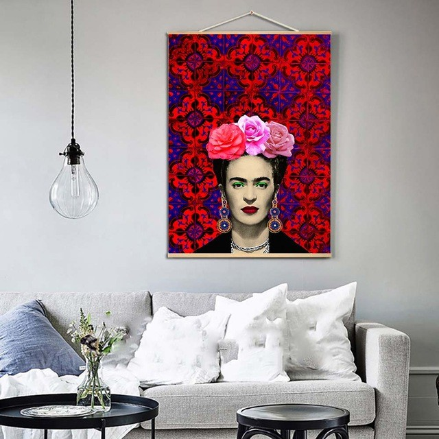 Flowers Canvas Painting Frida Kahlo Scroll Nordic Wall Art Poster Prints