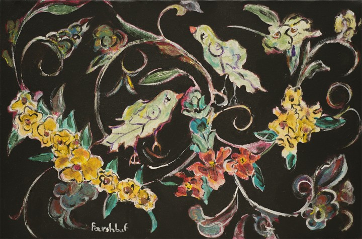 Persian Painting, Flower and Bird Design with Black Background