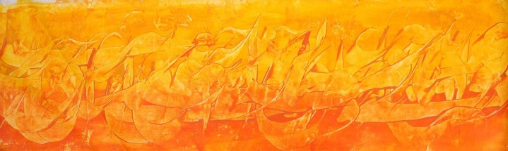 Orange colour persian calligraphy painting