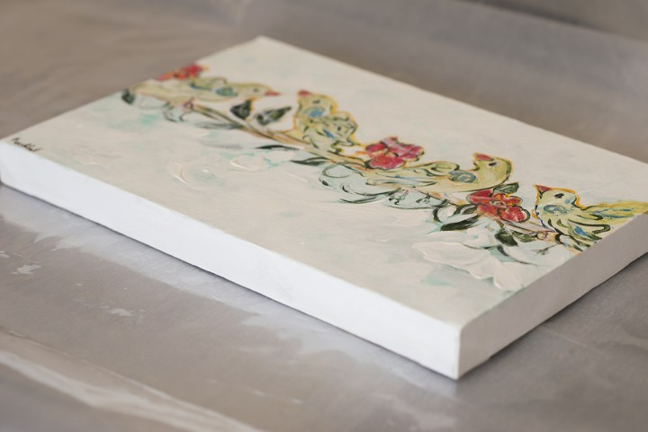 Persian Design, Bird and Flower Painting with White Background