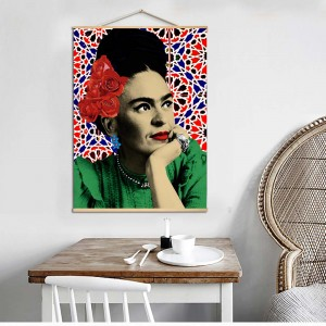 Canvas Painting Frida Kahlo Portrait Scroll Nordic Wall Art Poster Prints