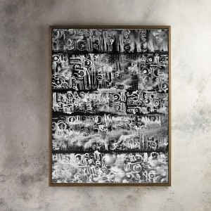 Abstract Black and White Calligraphy Wall Decoration