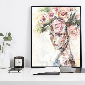 Nordic Flower Girl Modern Canvas Painting Abstract Poster