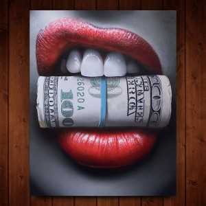 Red Lips with Money Quote Poster Print